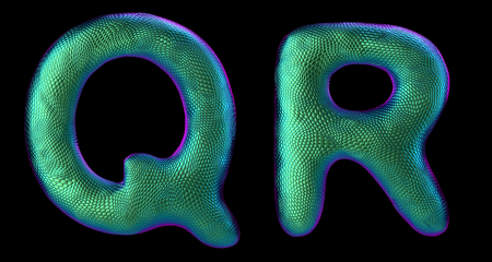 Letter set Q, R made of realistic 3d render natural green snake skin texture. Collection of snake skin texture with green color symbol isolated on black background