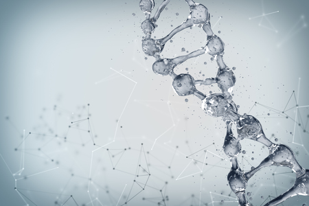 Science background with DNA molecules. 3D rendering Imagens
