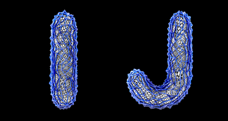 Realistic 3D letters set I, J made of blue plastic. Collection symbols of plastic with abstract holes isolated on black background 3d rendering