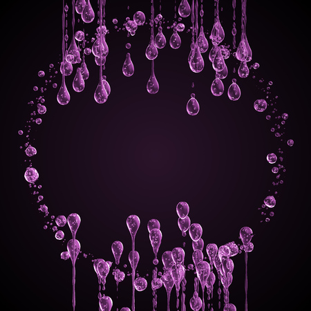3D detailed illustration of a drop of water pink color. Black background 3d rendering