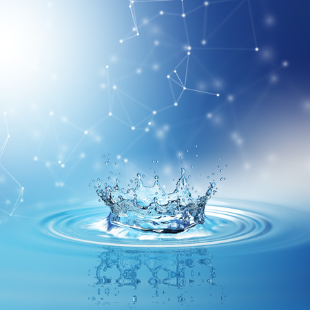 Blue water splash isolated on white background. 3d rendering Imagens
