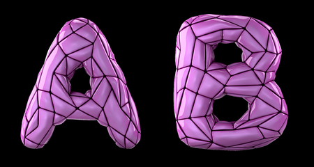 Realistic 3D letters set A, B made of low poly style. Collection symbols of low poly style pink color plastic isolated on black background 3d rendering