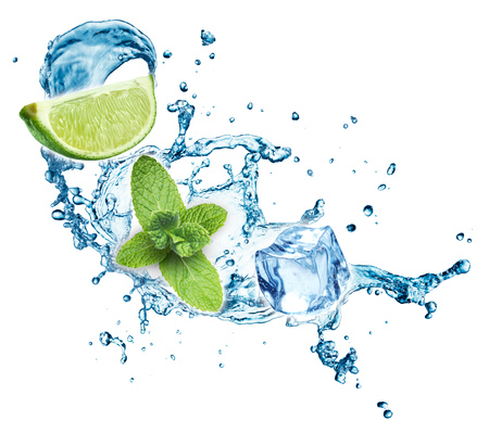 Blue water splash with lime and mint isolated on white background. 3d rendering