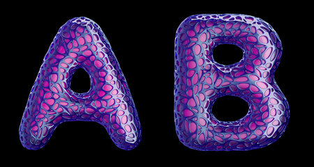 Realistic 3D letters set A, B made of purple plastic. Collection symbols of plastic with abstract holes isolated on black background 3d rendering