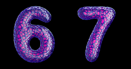 Number set 6, 7 made of purple plastic. Collection symbols of plastic with abstract holes isolated on black background 3d rendering