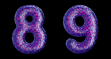 Number set 8, 9 made of purple plastic. Collection symbols of plastic with abstract holes isolated on black background 3d rendering