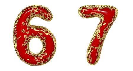 Number set 6, 7 made of realistic 3d render golden shining metallic. Collection of gold shining metallic with red color plastic symbol isolated on white background Stock fotó