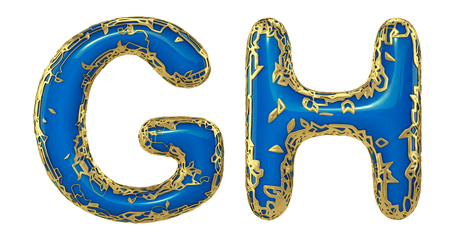 Realistic 3D letters set G, H made of gold shining metal letters. Collection of gold shining metallic with blue paint symbol isolated on white background Stock Photo