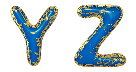 Realistic 3D letters set Y, Z made of gold shining metal letters. Collection of gold shining metallic with blue paint symbol isolated on white background Stock Photo - 127917007