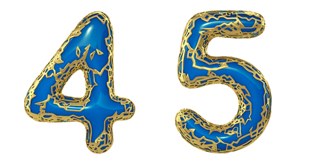 Number set 4, 5 made of realistic 3d render golden shining metallic. Collection of gold shining metallic with blue color plastic symbol isolated on white background