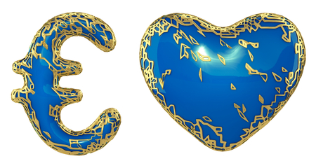 Symbol collection euro and heart made of golden shining metallic. Collection of gold shining metallic with blue paint symbol isolated on white background. 3d rendering Stock Photo