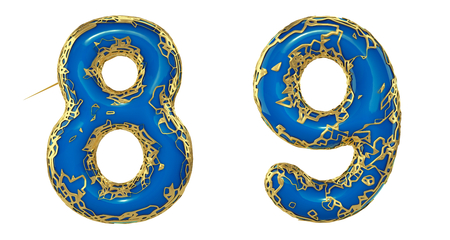 Number set 8, 9 made of realistic 3d render golden shining metallic. Collection of gold shining metallic with blue color plastic symbol isolated on white background