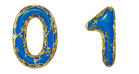 Number set 0, 1 made of realistic 3d render golden shining metallic. Collection of gold shining metallic with blue color plastic symbol isolated on white background Stock Photo