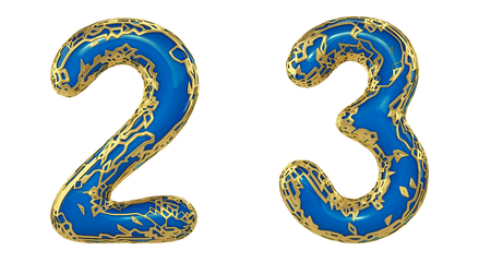 Number set 2, 3 made of realistic 3d render golden shining metallic. Collection of gold shining metallic with blue color plastic symbol isolated on white background Stock Photo - 127917014