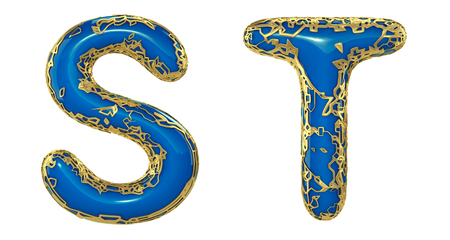 Realistic 3D letters set S, T made of gold shining metal letters. Collection of gold shining metallic with blue paint symbol isolated on white background Stock Photo - 127917013