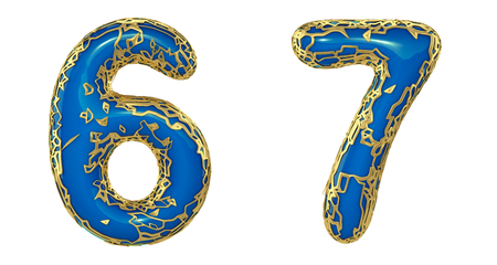 Number set 6, 7 made of realistic 3d render golden shining metallic. Collection of gold shining metallic with blue color plastic symbol isolated on white background