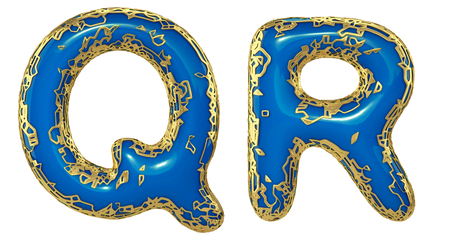 Realistic 3D letters set Q, R made of gold shining metal letters. Collection of gold shining metallic with blue paint symbol isolated on white background Stock Photo