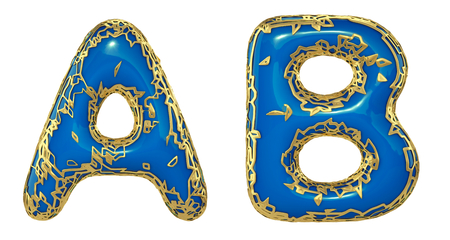 Realistic 3D letters set A, B made of gold shining metal letters. Collection of gold shining metallic with blue paint symbol isolated on white background
