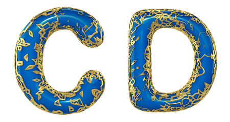 Realistic 3D letters set C, D made of gold shining metal letters. Collection of gold shining metallic with blue paint symbol isolated on white background
