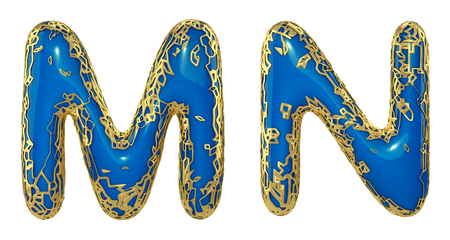 Realistic 3D letters set M, N made of gold shining metal letters. Collection of gold shining metallic with blue paint symbol isolated on white background