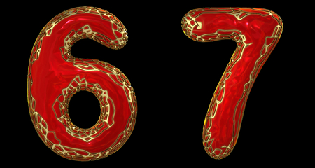 Number set 6, 7 made of realistic 3d render golden shining metallic. Collection of gold shining metallic with red color plastic symbol isolated on black background Stock fotó
