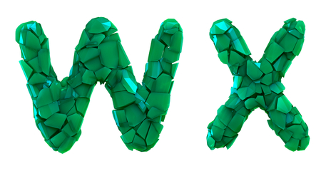 Letter set W, X made of 3d render plastic shards green color. Collection of plastic alphabet isolated on white.