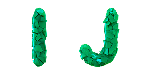 Letter set I, J made of 3d render plastic shards green color. Collection of plastic alphabet isolated on white. Stock fotó