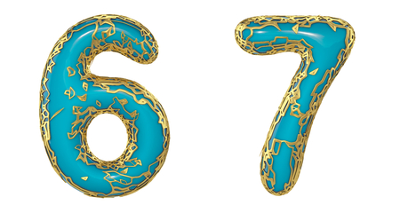 Number set 6, 7 made of realistic 3d render golden shining metallic. Collection of gold shining metallic with turquoise color plastic symbol isolated on white background