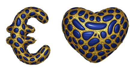 Symbol collection euro and heart made of realistic 3d render golden shining metallic. Collection of gold shining metallic with blue color glass symbol isolated on white background Stock Photo