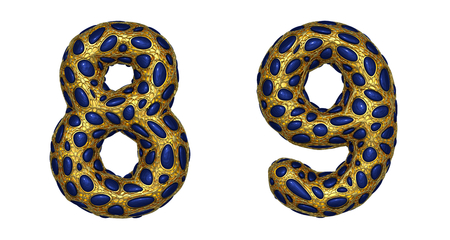 Number set 8, 9 made of realistic 3d render golden shining metallic. Collection of gold shining metallic with blue color glass symbol isolated on white background