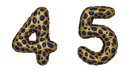 Number set 4, 5 made of realistic 3d render golden shining metallic. Collection of gold shining metallic with blue color glass symbol isolated on white background Stock Photo