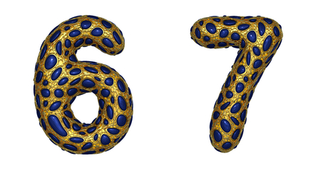 Number set 6, 7 made of realistic 3d render golden shining metallic. Collection of gold shining metallic with blue color glass symbol isolated on white background Stock Photo - 127741856