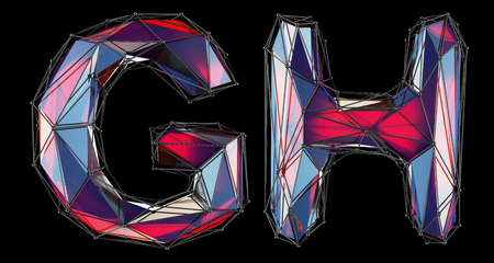 Realistic 3D letters set G, H made of low poly style. Collection symbols of low poly style red color glass isolated on black background 3d rendering