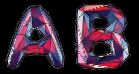 Realistic 3D letters set A, B made of low poly style. Collection symbols of low poly style red color glass isolated on black background 3d rendering