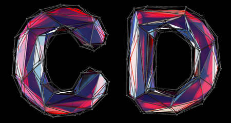 Realistic 3D letters set C, D made of low poly style. Collection symbols of low poly style red color glass isolated on black background 3d rendering