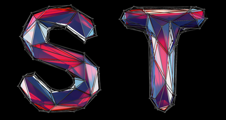 Realistic 3D letters set S, T made of low poly style. Collection symbols of low poly style red color glass isolated on black background 3d rendering Stock Photo