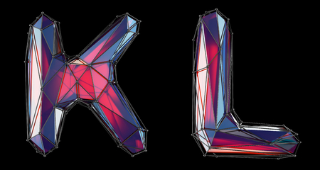 Realistic 3D letters set K, L made of low poly style. Collection symbols of low poly style red color glass isolated on black background 3d rendering Stock Photo