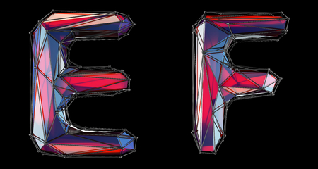 Realistic 3D letters set E, F made of low poly style. Collection symbols of low poly style red color glass isolated on black background 3d rendering