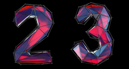 Number set 2, 3 made of red color glass. Collection symbols of low poly style red color glass isolated on black background 3d rendering Stock Photo