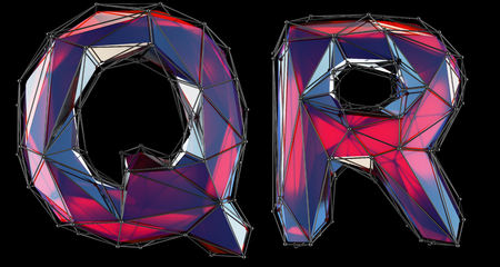 Realistic 3D letters set Q, R made of low poly style. Collection symbols of low poly style red color glass isolated on black background 3d rendering