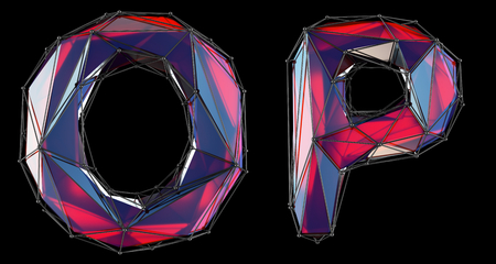 Realistic 3D letters set O, P made of low poly style. Collection symbols of low poly style red color glass isolated on black background 3d rendering Stock Photo