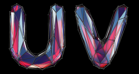 Realistic 3D letters set U, V made of low poly style. Collection symbols of low poly style red color glass isolated on black background 3d rendering