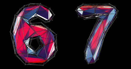 Number set 6, 7 made of red color glass. Collection symbols of low poly style red color glass isolated on black background 3d rendering Stock Photo