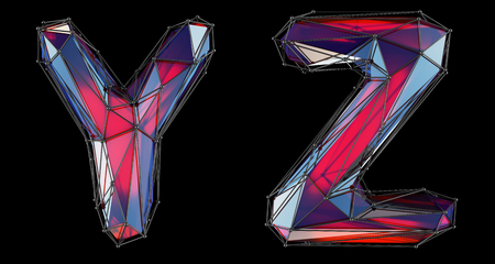 Realistic 3D letters set Y, Z made of low poly style. Collection symbols of low poly style red color glass isolated on black background 3d rendering