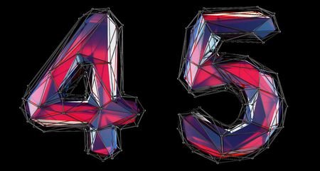 Number set 4, 5 made of red color glass. Collection symbols of low poly style red color glass isolated on black background 3d rendering Stock Photo