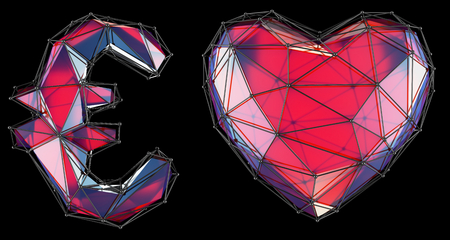 Symbol collection euro and heart made of red glass. Collection symbols of low poly style red color glass isolated on black background 3d rendering