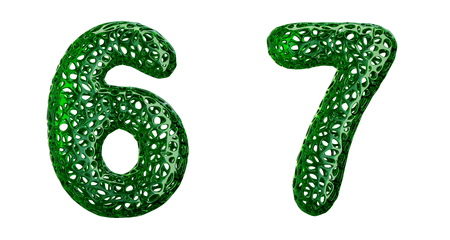 Number set 6, 7 made of green plastic. Collection symbols of plastic with abstract holes isolated on white background 3d rendering Stock Photo - 128048633
