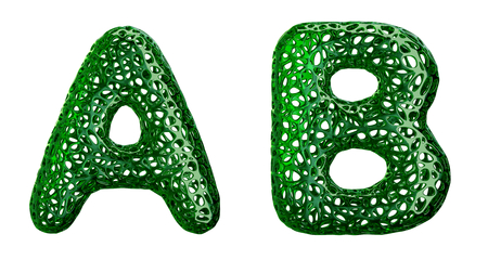 Realistic 3D letters set A, B made of green plastic. Collection symbols of plastic with abstract holes isolated on white background 3d rendering