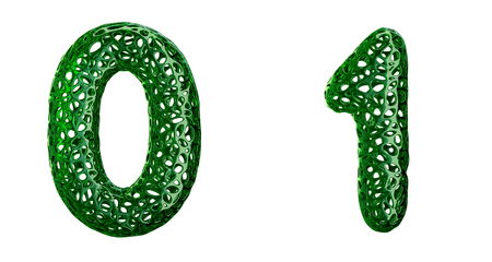 Number set 0, 1 made of green plastic. Collection symbols of plastic with abstract holes isolated on white background 3d rendering Stock Photo