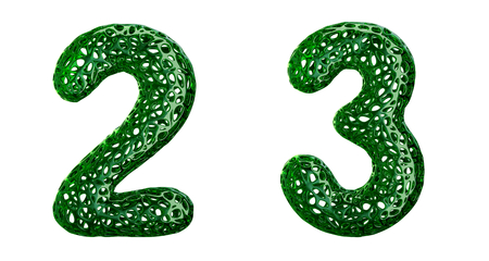 Number set 2, 3 made of green plastic. Collection symbols of plastic with abstract holes isolated on white background 3d rendering